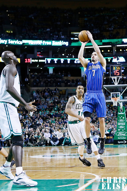 01 February 2013: Orlando Magic shooting guard J.J. Redick (7) takes a jumpshot during the Boston Celtics 97-84 victory over the Orlando Magic at the TD Garden, Boston, Massachusetts, USA.