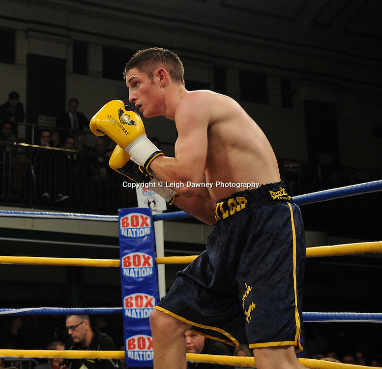 George Jupp defeats Dan Naylor (pictured) in a Featherweight contest at York Hall, Bethnal Green, London on Friday 13th January 2012. Queensbury Promotions © Leigh Dawney 2012