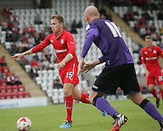 Greg Stewart goes past Kevin Ellison - Morecambe v Dundee, pre-season friendly at the Globe Arena<br /> <br />  - &copy; David Young - www.davidyoungphoto.co.uk - email: davidyoungphoto@gmail.com
