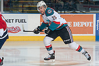 KELOWNA, CANADA - MARCH 28: Colton Heffley #25 of the Kelowna Rockets skates against the Tri-City Americans during game 5 of the first round of WHL playoffs on March 28, 2014 at Prospera Place in Kelowna, British Columbia, Canada.   (Photo by Marissa Baecker/Shoot the Breeze)  *** Local Caption *** Colton Heffley;