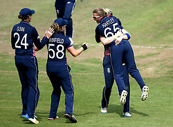 Alex Hartley of England Women celebrates with teammates after taking the wicket of Beth Mooney of Australia Women - Mandatory by-line: Robbie Stephenson/JMP - 09/07/2017 - CRICKET - Bristol County Ground - Bristol, United Kingdom - England v Australia - ICC Women's World Cup match 19