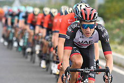 October 11, 2018 - Marmaris, Turkey - Przemyslaw Niemiec of Poland from UAE Team Emirates leads the peloton during the third stage - the Troy Stage 137.2km Fethiye - Marmaris, of the 54th Presidential Cycling Tour of Turkey 2018. .On Thursday, October 11, 2018, in Marmaris, Turkey. (Credit Image: © Artur Widak/NurPhoto via ZUMA Press)