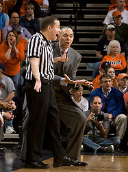 Virginia head coach Dave Leitao argues a call.  The Virginia Cavaliers fell to the Bradley Braves 96-85 in the semifinals of the 2008 College Basketball Invitational at the University of Virginia's John Paul Jones Arena in Charlottesville, VA on March 26, 2008.