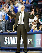 Dallas Mavericks head coach Rick Carlisle reacts to a technical foul in the fourth quarter against the San Antonio Spurs at American Airlines Center in Dallas, Texas, on January 25, 2013.  (Stan Olszewski/The Dallas Morning News)