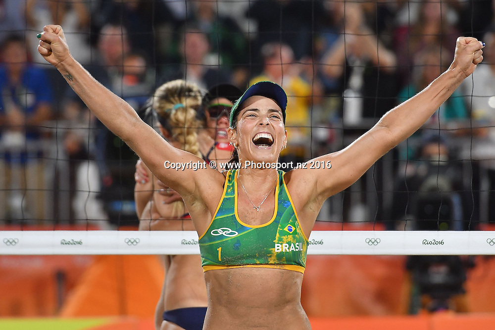 Brazil's Agatha Bednarczuk-Rippel celebrates their win during the Women's beach Volleyball semifinal in the volleyball arena on Copacabana beach at the 2016 Rio Olympics on Wednesday the 17th of August 2016. © Copyright Photo by Marty Melville / www.Photosport.nz