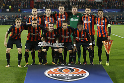 Andriy Pyatov of FC Shakhtar Donesk, Bohdan Butko of FC Shakhtar Donesk, Taras Stepanenko of FC Shakhtar Donesk, Taisan of FC Shakhtar Donesk, Fred of FC Shakhtar Donesk, Bernhard of FC Shakhtar Donesk, Marlos of FC Shakhtar Donesk, Ivan Ordets of FC Shakhtar Donesk, Facundo Ferreyra of FC Shakhtar Donesk, Isamily of FC Shakhtar Donesk, Yaroslav Rakitskiy of FC Shakhtar Donesk during the UEFA Champions League group F match between Feyenoord Rotterdam and Shakhtar Donetsk at the Kuip on October 17, 2017 in Rotterdam, The Netherlands