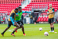 ALKMAAR - 19-10-2016, training persconferentie AZ, AFAS Stadion, AZ speler Ridgeciano Haps, AZ speler Fred Friday, AZ speler Iliass Bel Hassani