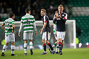 Dundee's Mark O'Hara applauds the travelling support at the end - Celtic v Dundee in the Ladbrokes Scottish Premiership at Celtic Park, Glasgow. Photo: David Young<br /> <br />  - © David Young - www.davidyoungphoto.co.uk - email: davidyoungphoto@gmail.com