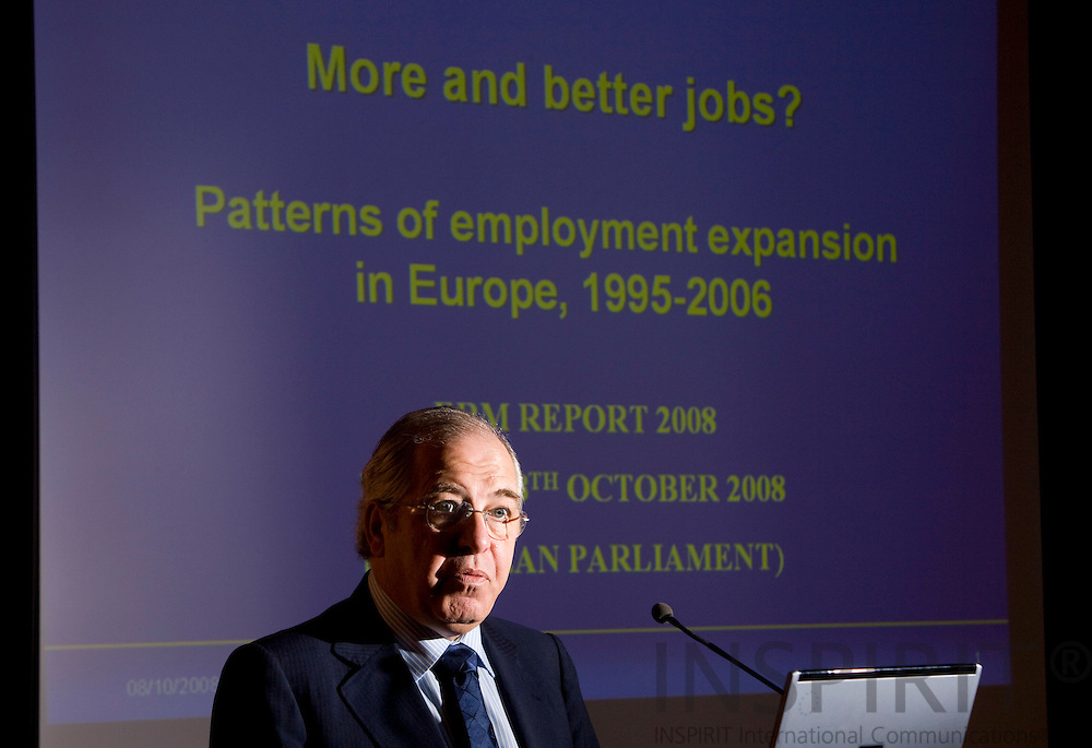BRUSSELS - BELGIUM - 7 OCTOBER 2008 --  MEP Jose Silva PENEDA, during the presentation of the new report from the Foundation, More and better jobs: patterns of employment expansion in Europe, in  in The European Parliament.  Photo: Erik LUNTANG / EUP-Images