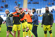 Burton Albion's Luke Murphy and Burton Albion's Darren Bent warm up during the EFL Sky Bet Championship match between Cardiff City and Burton Albion at the Cardiff City Stadium, Cardiff, Wales on 30 March 2018. Picture by John Potts.