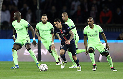 Angel Di Maria of Paris Saint-Germain takes on the Manchester City defence - Mandatory by-line: Robbie Stephenson/JMP - 06/04/2016 - FOOTBALL - Parc des Princes - Paris,  - Paris Saint-Germain v Manchester City - UEFA Champions League Quarter Finals First Leg