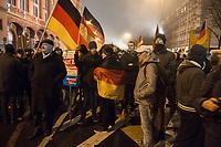 "05 JAN 2015, BERLIN/GERMANY:<br /> Demonstranten mit Deutschland-Fahnen, Bärgida-Demo ""Berliner Patrioten gegen die Islamisierung des Abendlandes"", Spandauer Strasse<br /> IMAGE: 20150105-01-039<br /> KEYWORDS: Bärgida, Demonstranten, Protest, Demonstration, Flaggen"