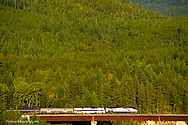 Amtrak Train at testle in Glacier National Park in Montana