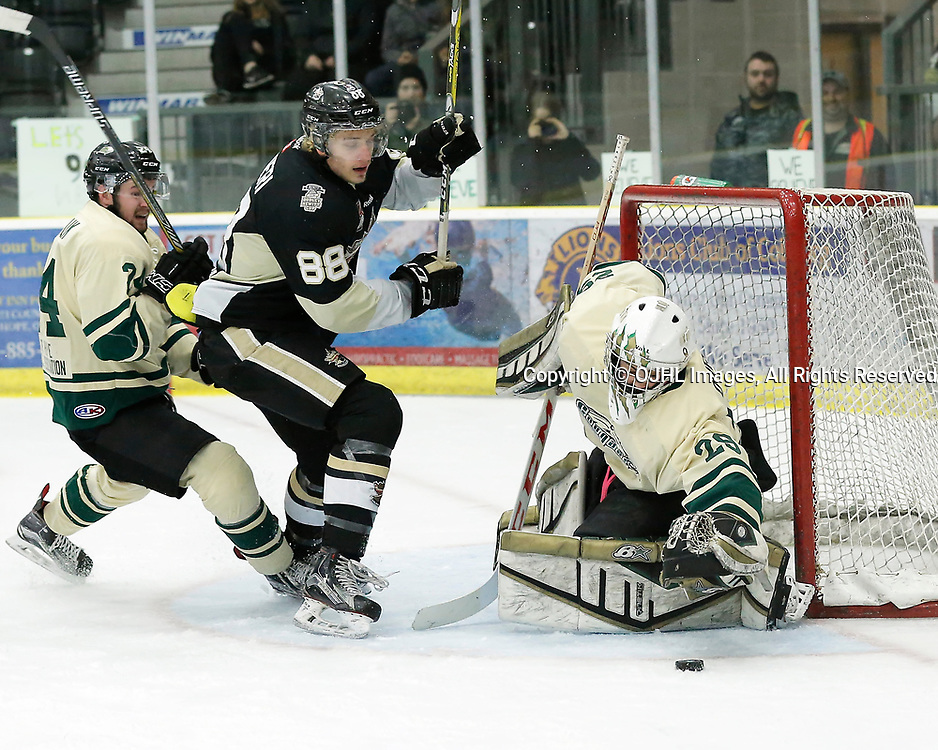 COBOURG, ON - APR 6,  2017: Ontario Junior Hockey League, North East Conference Championship game between Trenton Golden Hawks and the Cobourg Cougars. Stefano Durante #29 of the Cobourg Cougars makes the save during the first period<br /> (Photo by Amy Deroche / OJHL Images)