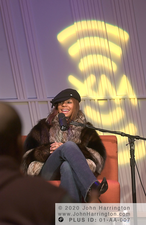 Ashanti is interviewed at XM Radio on Wednesday December 22, 2004.  Ashanti is an American Grammy Award-winning R&B and pop singer-songwriter, record producer, actress, and author who rose to fame during the early 2000s.