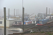 © Licensed to London News Pictures. 21/01/2014. Hammersmith, UK Boats lie at low tide in the fog. People cross Hammersmith Bridge in heavy fog in West London today 21st January 2014. Photo credit : Stephen Simpson/LNP