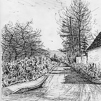Sketchbook drawing of Up Hatherley in Exeter, Devon, England with rural aspect
