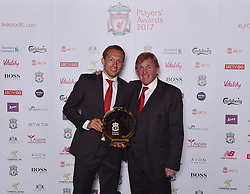 LIVERPOOL, ENGLAND - Tuesday, May 9, 2017: Liverpool's Lucas Leiva pictured with non-executive director Kenny Dalglish after winning the Special Recognition Award 2017 at the Liverpool FC Players' Awards 2017 at Anfield. (Pic by Andrew Powell/Liverpool FC/Pool/Propaganda)