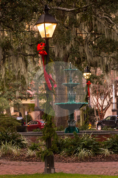 Christmas decorations in Lafayette Square Savannah, GA.