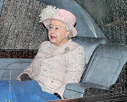 The Queen is driven away after attending church at a wet and windy Sandringham in Norfolk, United Kingdom, Sunday, 26th January 2014. Picture by Stephen Lock / i-Images