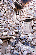 TALIOUINE, MOROCCO - MAY 24TH 2016 - Close ups of old doors to storage chambers inside the Ait Inlatten Granary, Souss Massa Draa, Southern Morocco