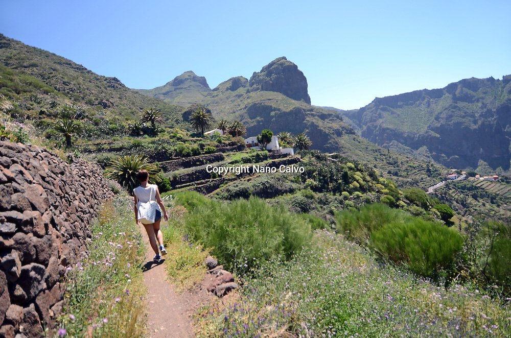 Young woman in Masca Valley (Valle de Masca), Tenerife, Canary Islands