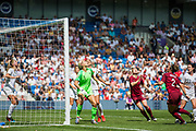 Erin Nayler (GK)(New Zealand) waiting to catch the ball during the FIFA Women's World Cup UEFA warm up match between England Women and New Zealand Women at the American Express Community Stadium, Brighton and Hove, England on 1 June 2019.