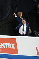 KELOWNA, BC - OCTOBER 26: Coach Brian Orser cheers the performance of Evgenia Medvedeva during ladies long program of Skate Canada International held at Prospera Place on October 26, 2019 in Kelowna, Canada. (Photo by Marissa Baecker/Shoot the Breeze)