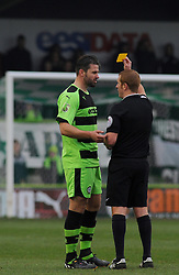 Forest Green Rovers's Aarran Racine gets booked by referee Adam Hopkins - Photo mandatory by-line: Nizaam Jones - Mobile: 07966 386802 - 14/03/2015 - SPORT - Football - Nailsworth - The New Lawn - Forest Green Rovers v Braintree  - Vanarama Football Conference.