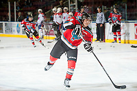 KELOWNA, CANADA - OCTOBER 10: Rourke Chartier #14 of the Kelowna Rockets warms up on the ice as the Spokane Chiefs visit the Kelowna Rockets on October 10, 2012 at Prospera Place in Kelowna, British Columbia, Canada (Photo by Marissa Baecker/Shoot the Breeze) *** Local Caption ***