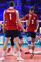 Celebration of Aaron Russell and Matthew Anderson of USA.<br /> Torino 30-09-2018 Pala Alpitour <br /> FIVB Volleyball Men's World Championship <br /> Pallavolo Campionati del Mondo Uomini <br /> Finals / 3th place<br /> Serbia - USA  <br /> Foto Antonietta Baldassarre / Insidefoto