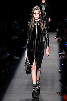 Mina Cvetkovic (WOMEN) walks the runway wearing Alexander Wang Fall 2015 during Mercedes-Benz Fashion Week in New York on February 14, 2015
