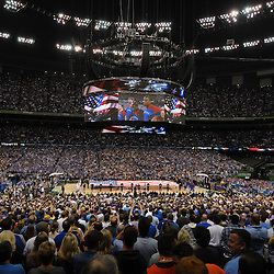 Apr 2, 2012; New Orleans, LA, USA; A general view of the national anthem before the start of the finals of the 2012 NCAA men's basketball Final Four between the Kansas Jayhawks and Kentucky Wildcats at the Mercedes-Benz Superdome. Mandatory Credit: Derick E. Hingle-US PRESSWIRE