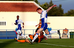 Rory Gaffney of Bristol Rovers shoots at goal - Mandatory by-line: Robbie Stephenson/JMP - 18/07/2017 - FOOTBALL - Estadio da Nora - Albufeira,  - Hull City v Bristol Rovers - Pre-season friendly