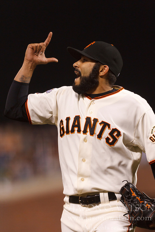 August 9, 2011; San Francisco, CA, USA;  San Francisco Giants relief pitcher Sergio Romo (54) celebrates after an out against the Pittsburgh Pirates during the eighth inning at AT&T Park. San Francisco defeated PIttsburgh 6-0.