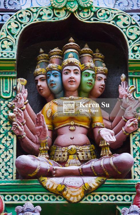 Stone statue of five aspects of Hindu goddess, Meenkashi, Sree Meenakshi Temple complex, Madurai, Tamil Nadu State, India