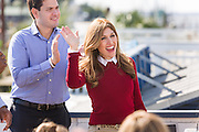 Jeanette Dousdebes, wife of Senator and GOP presidential candidate Marco Rubio waves during a campaign event at the Waters Edge restaurant along Shem Creek in Mount Pleasant, South Carolina. About 100 people turned out to hear the Senator speak in the heart of the shrimping industry along Charleston Harbor.