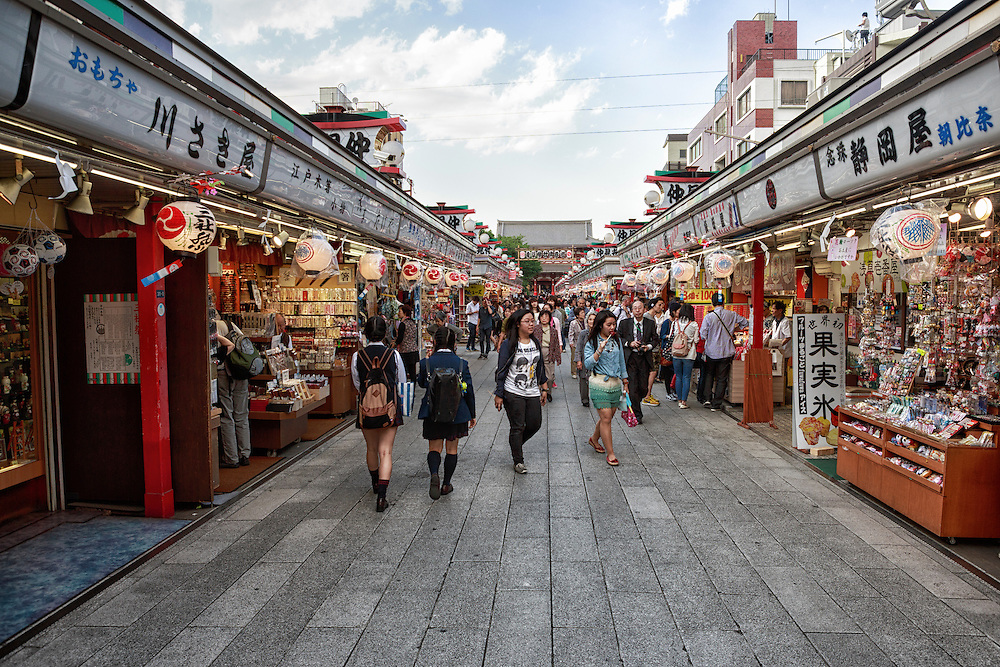 The entrance lane to Sensoji temple is lined with small stores selling artifacts, souvenirs and more.