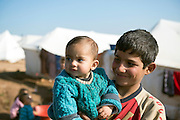 Syrian children at the displaced persons camp in Atmeh, Syria