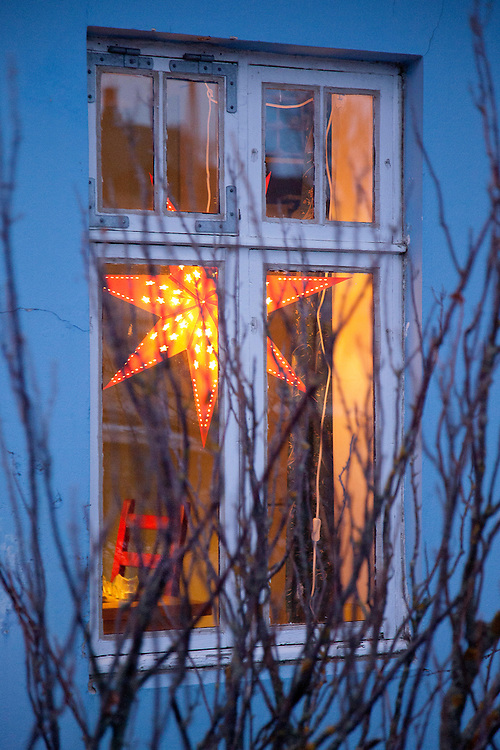 Window scene, Reykjavik, Iceland on Christmas day 2013.