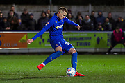 AFC Wimbledon striker Joe Pigott (39) scoring goal to make it 1-0 during the EFL Sky Bet League 1 match between AFC Wimbledon and Peterborough United at the Cherry Red Records Stadium, Kingston, England on 12 March 2019.