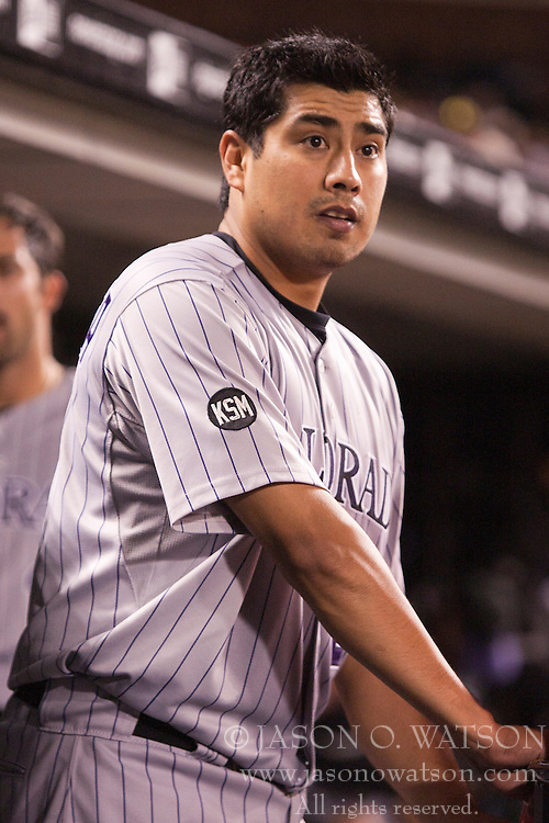 August 30, 2010; San Francisco, CA, USA;  Colorado Rockies starting pitcher Jorge De La Rosa (29) in the dugout during the sixth inning against the San Francisco Giants at AT&T Park.  Colorado defeated San Francisco 2-1.