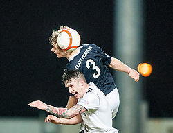 Falkirk's Stephen Kingsley over Livingston's Jordan Morton..Falkirk v Livingston, 19/2/2013..©Michael Schofield.