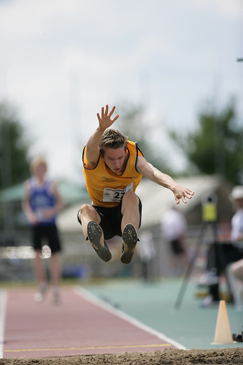 (Sherbrooke, Quebec -- 8 Aug 2009)  Eric Laramee of Alberta competes in boys under long jump final at the 2009 Royal Canadian Legion National Youth track and field championships. Photograph copyright Sean Burges / Mundo Sport Images  2009.