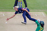 England womens cricket player Katherine Brunt fields off her own bowling during the ICC Women's World Cup match between England and Pakistan at the Fischer County Ground, Grace Road, Leicester, United Kingdom on 27 June 2017. Photo by Simon Davies.
