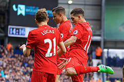 WEST BROMWICH, ENGLAND - Easter Sunday, April 16, 2017, 2016: Liverpool's Roberto Firmino celebrates scoring the first goal against West Bromwich Albion with team-mates Lucas Leiva and Philippe Coutinho Correia during the FA Premier League match at the Hawthorns. (Pic by David Rawcliffe/Propaganda)