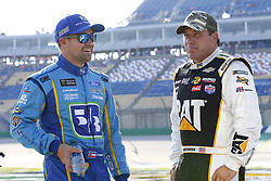July 13, 2018 - Sparta, Kentucky, United States of America - Ricky Stenhouse, Jr (17) and Ryan Newman (31) hang out on pit road before qualifying for the Quaker State 400 at Kentucky Speedway in Sparta, Kentucky. (Credit Image: © Chris Owens Asp Inc/ASP via ZUMA Wire)