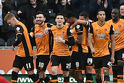 Hull City celebrate Hull City midfielder Robert Snodgrass (10) scoring to go 4-0 up during the Sky Bet Championship match between Hull City and Charlton Athletic at the KC Stadium, Kingston upon Hull, England on 16 January 2016. Photo by Ian Lyall.