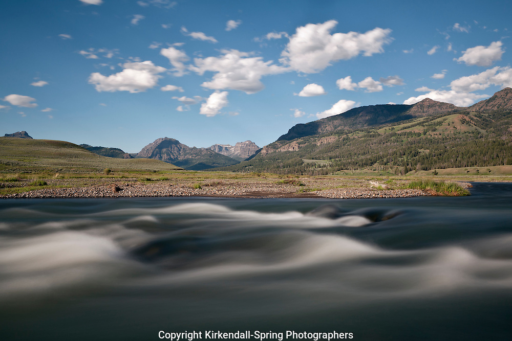 WY00534-00...WYOMING - Soda Butte Creek in Yellowstone National Park with the Absaroka Range in the distance.