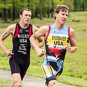 Two American triathletes racing